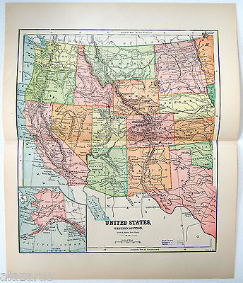 Original 1891 Map of The Western United States by Hunt & Eaton