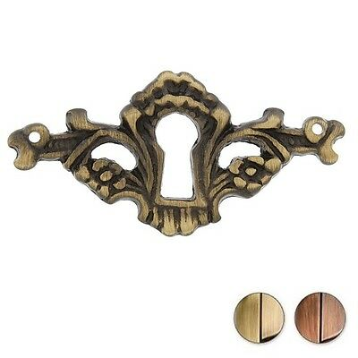 One (1) Solid Brass Victorian Keyhole Cover Face Plate ~ 2 Finishes ~ New! Kc14