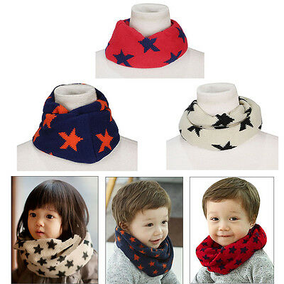 One Circle Neck Warm Baby Kids Star Toddlers Winter O Ring Knitted Scarf Shawl
