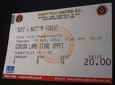Sheffield United v Nottingham Forest 19th Oct 2004 League Match Ticket