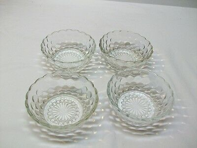 """Vintage Anchor Hocking Crystal """"Bubble"""" Pattern Berry Bowls - 4"""