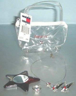 Tommy Hilfiger Girls Star Ring-Necklace-Hair Pins-Mirror-Zip Pouch 6 Pc. Set New