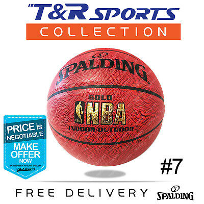 Size 6 Spalding Gold NBA Basketball Game Ball Indoor Outdoor Free Delivery
