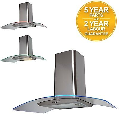 SIA 90cm Multi Colour LED Curved Glass Stainless Steel Cooker Hood Extractor Fan