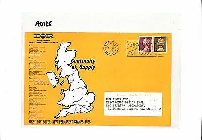 AO125 1968 GB London FDC New Permanent Stamps. Advert