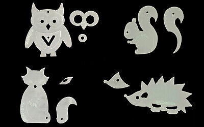A set of four woodland animal acrylic templates - applique/sewing/quilting/paper
