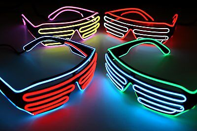 Soundaktivierte Bicolor Party-Shutterbrille EL-Brille Leuchtbrille LED ©Ucult