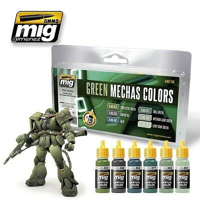 AMMO OF MIG GREEN MECHAS COLORS SET Cod.AMIG7149
