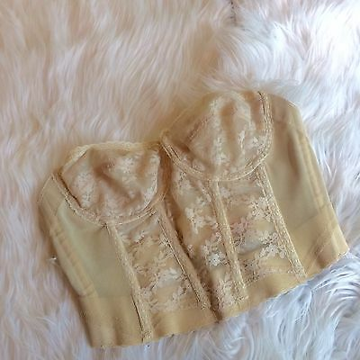 Vintage Backless By Young Smoothie Nylon Nude Lace Bra Size 34B B8