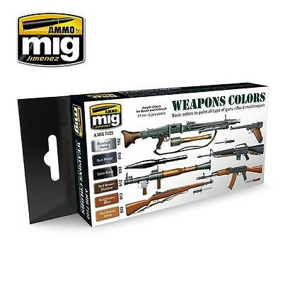 AMMO OF MIG WEAPONS COLORS SET Cod.AMIG7123