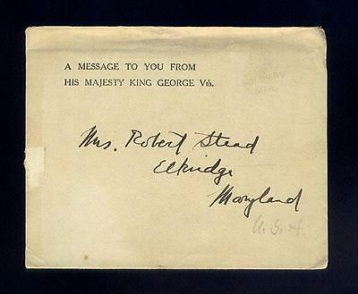 Original Letter From King George V To American Soldier's Mother Mrs. Stead, Md.
