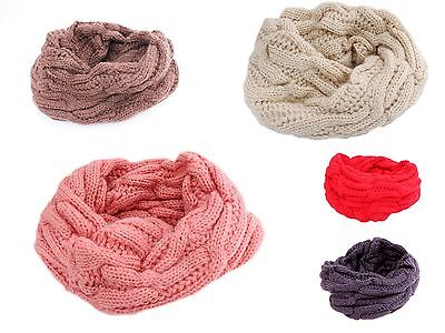 Kids Boys Girls Cable Knit Winter Neck Warmer Loop Scarf Age 3 to 10