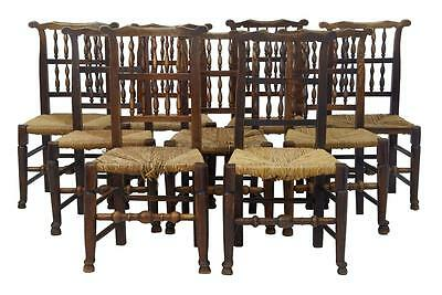 Fine Set Of 9 Early 19Th Century Elm And Fruitwood Lancashire Spindleback Chairs