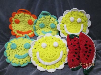 7 Vintage Hand Crafted Yarn Smiley Faces & Watermellon Pot Holders