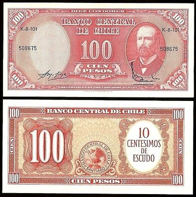Chile 10 Centesimos on 100 PESOS Serie K P 127 UNC