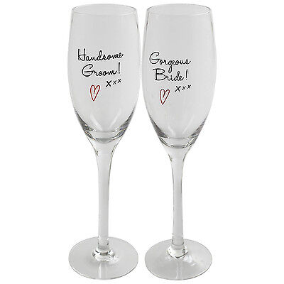 Gorgeous Bride and Handsome Groom Champagne Flutes Wine Glasses Glassware Set