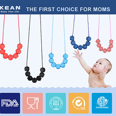 Chain Baby Teething Necklace Teether Cute Charm BPA-Free Beads Polygon Silicone