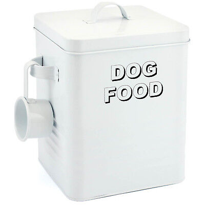 Home Sweet Home White Dog Pets Food Dispenser Storage Container Canister New