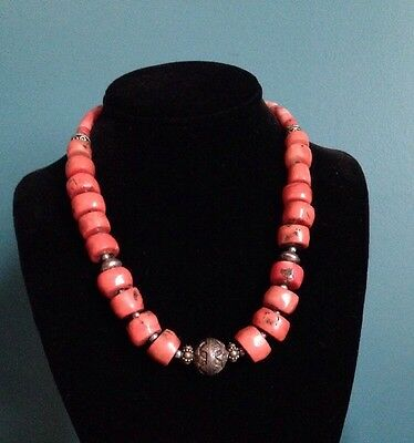 Vintage Moroccan Red Coral Bead Necklace North African
