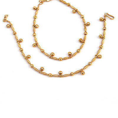 Fashion Indian Bollywood Matte Finish Payal Anklet Pair in Link Chain Gold Bead