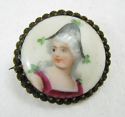 Antique Victorian Hand Painted Porcelain Lady Prong Set Brooch Pin