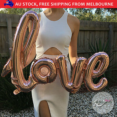 "40"" Handwriting Love Foil Balloons Wedding Birthday Party Decorations Rose Gold"