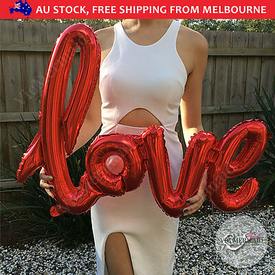 """40"""" Handwriting Love Foil Balloons Wedding Birthday Party Decorations RED"""