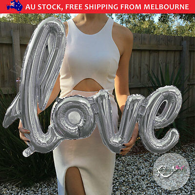 """40"""" Handwriting Love Foil Balloons Wedding Birthday Party Decorations Silver"""