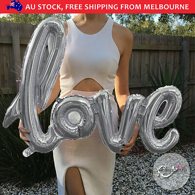"40"" Handwriting Love Foil Balloons Wedding Birthday Party Decorations Silver"