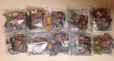 Rare Complete Lot Of 10 New The Simpsons Creepy Classics Burger King Toys Sealed