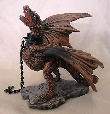 Chained Dragon Statue Fantasy Mythical Gothic Magic Figure Decorative Ornament A