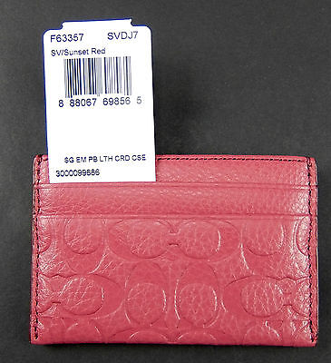 Coach Signature Card Case Wallet Sunset Red Pebble Embossed Leather F63357