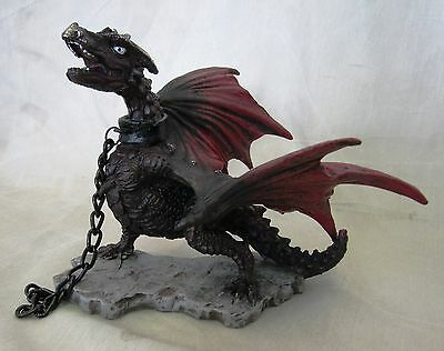 Chained Dragon Statue Fantasy Mythical Gothic Magic Figure Decorative Ornament g