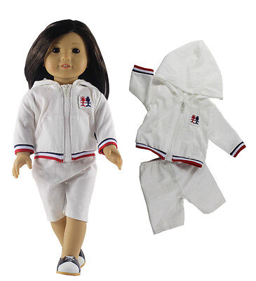 White Handmade Doll Clothes Outfit FOR 18'' American Girl Doll Casual Clothing