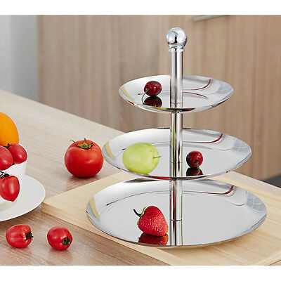 Stainless Steel 3 Tier Layer Round Food Cake Cupcake Plate Fruit Dish 7931
