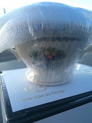 Lenox Autumn Gold-Banded Fine China Sugar Bowl w/ Lid. Free Shipping