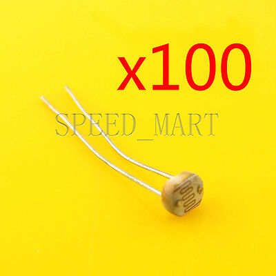 100 pcs Photoresistor LDR CDS 5mm Light-Dependent Resistor Sensor GL5537 Arduino