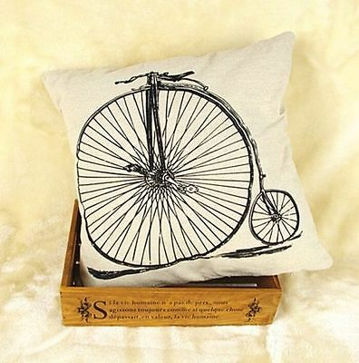 FD3248 Vintage Linen Bike Bicycle Throw Pillow Cases Cushion Cover Home Decor
