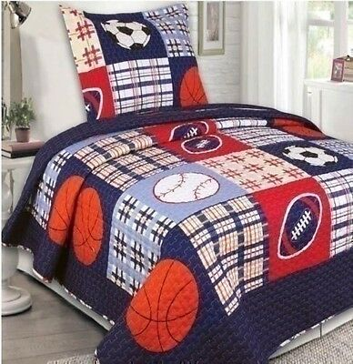 NEW Twin Full Bed 3 pc Kids Bedspread Set Baseball Soccer Sports Coverlet Quilt