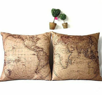 FD3253 Vintage Linen World Map Throw Pillow Cases Cushion Cover Home Decor 2PC
