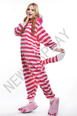 Cheshire Cat Cosplay Costume Outfit Unisex Pajamas Kigurumi Sleepwear for 57-62""