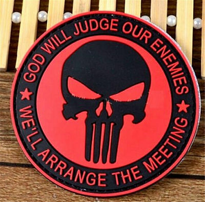FD3281 Navy Seals Punisher Red Badge 3D PVC Rubber Military Tactical