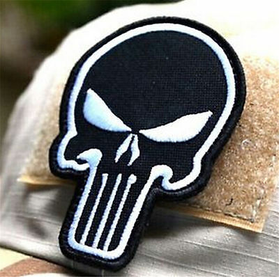 FD3283 Black DIY Punisher Skull USA Military Army Tactical Morale Badge Patch