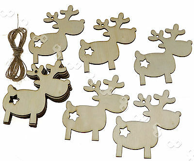 10 X Wooden Christmas Xmas Tree Decorations Gift  Reindeer Hangers Craft Tags