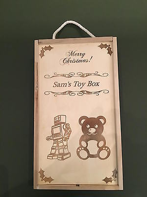Personalised Engraved Sliding Lid child's Wooden Toy Box Christmas gift