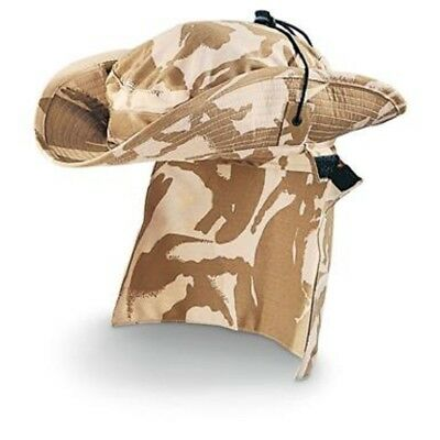 Hat Boonie British Military Issue-Desert Camo With Removable Neck Flap-57Cm-New