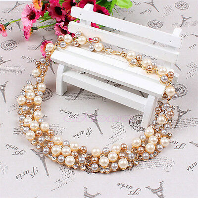 Lady Wedding Party Vogue Jewelry Crystal Rhinestone Pearl  Earrings Necklace Set