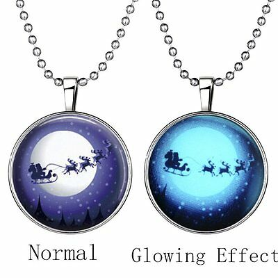 Christmas Deer Snow Glow In The Dark Pendant Necklace Jewellery Women Long Chain