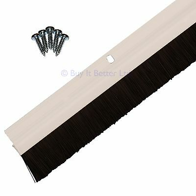 Draught Excluder Door Bottom Brush Strip Sweep Seal 3 Pack White Easy to Fit