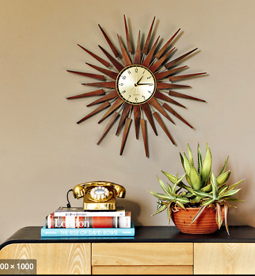 Mid Century Modern Seth Thomas Danish Style Star Sunburst Wood Wall Clock New